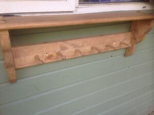 wooden coat peg rack shaker style 6 peg LIGHT OAK STAIN coat rail with shelf new