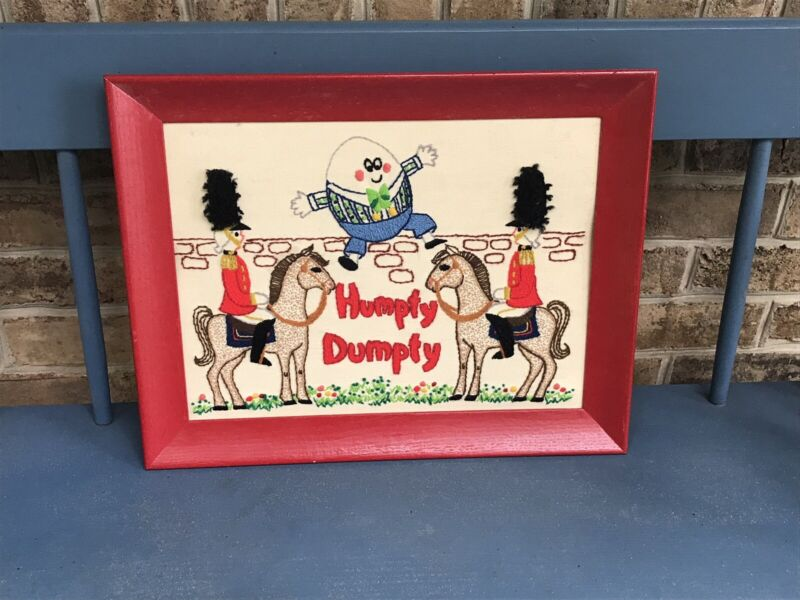 Humpty Dumpty Embroidered Framed Picture