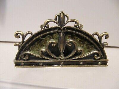 Vintage Metal Business Card Holder Stand Bronze Gold Ornate Office Gift Nwot