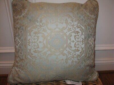 Croscill BELLAVISTA Square decorative pillow NWT Pale Blue gold Croscill Blue Decorative Pillow