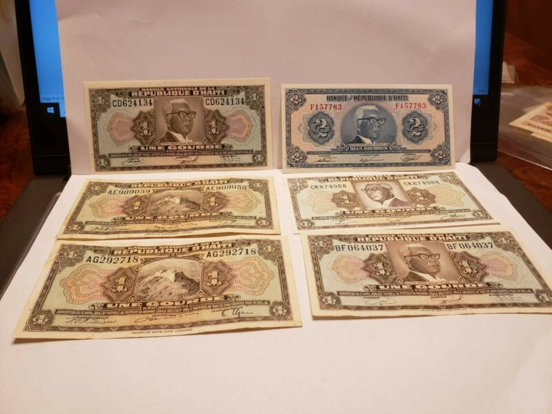 Haiti 2 1 Gourdes Note P231 239, 200 160 VF to UNC  6 notes L.1919