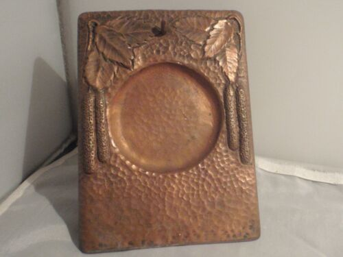 Antique late 19th century Swedish table watch clock stand hammered copper