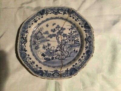Old Chinese Blue An White  Plate Which Has Been Broken In Half For Repair