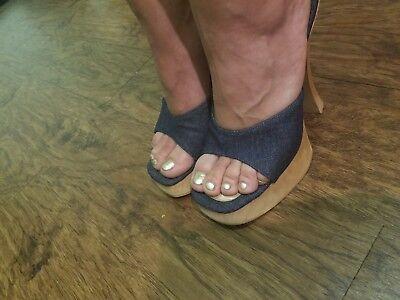 - GREATER LA Sandals High Heels Sexy Blue Denim Wood Slide Mule Clog Slip on 9 /39
