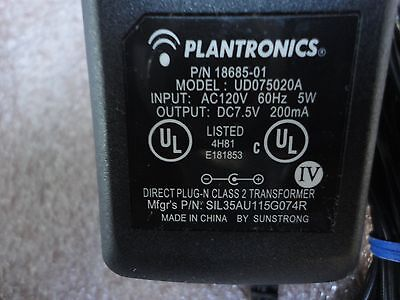 Plantronics AC Adapter UD-075020A  Power Supply 18685-01 7.5V Plantronics Ac Power Supply