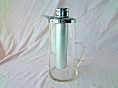 Vintage Crystal Clear Glass Cocktail Picher Decanter Ice Tube Chrome Top Spout