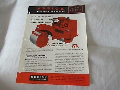 Essick Vr-28-r Construction Vibrating Compactor Specification Sheet Brochure