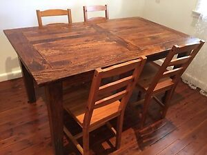 Solid Mango Wood Dining Table with 4 free chairs Epping Ryde Area Preview