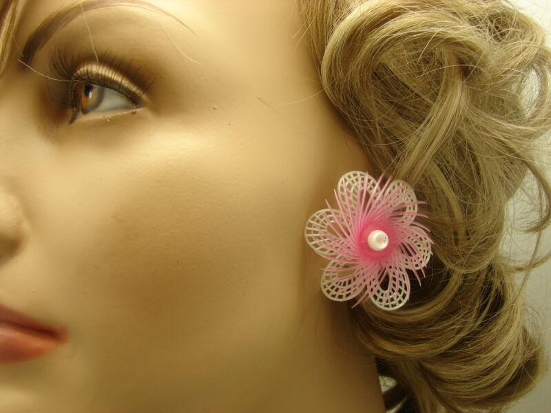 "Vintage Big Pink Feather lite W. Germany Plastic Flower Clip on Earrings 1 3/4"""