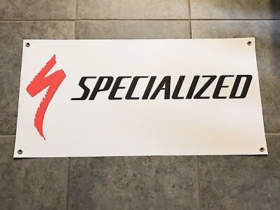 Specialized banner sign shop wall garage mountain bike downhill cycling trail