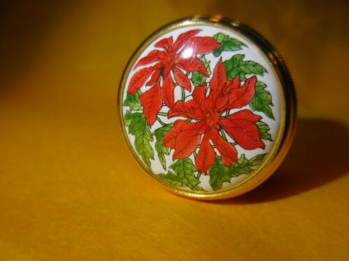 Tiffany & Co.- Halcyon Days Enamel Box-  Red Flowers Gumps