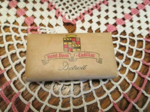 BOOK CADILLAC HOTEL VINTAGE 1950s SOUVENIR ROOM Mini Bar SOAP DETROIT MICHIGAN