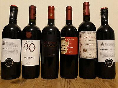 (12,00€/ 1l) 6 Flaschen Italien Rotwein Probierpaket Toskana Primitivo