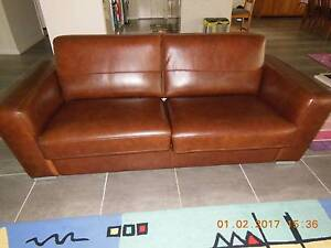 Genuine Leather Sofa Bed by Kuka 3 seater Engadine Sutherland Area Preview