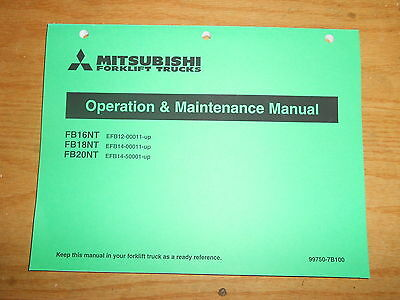 Mitsubishi Forklift Trucks Operation Maintenance Manual Book Fb16nt Others