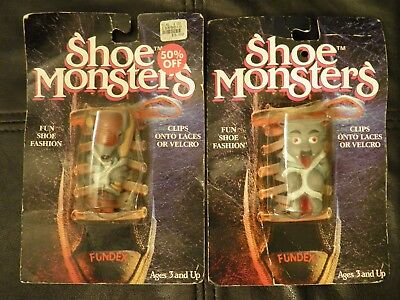 1989 Fundex SHOE MONSTERS Lace/Velcro Clip-Ons BOOTS BEARCAT/HIGHTOP HARRY Toys - Clip On Shoe Laces
