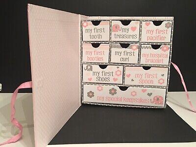 Tri-Coastal Kids Baby Keepsake Box Memory My First Treasures Drawers Girl Pink