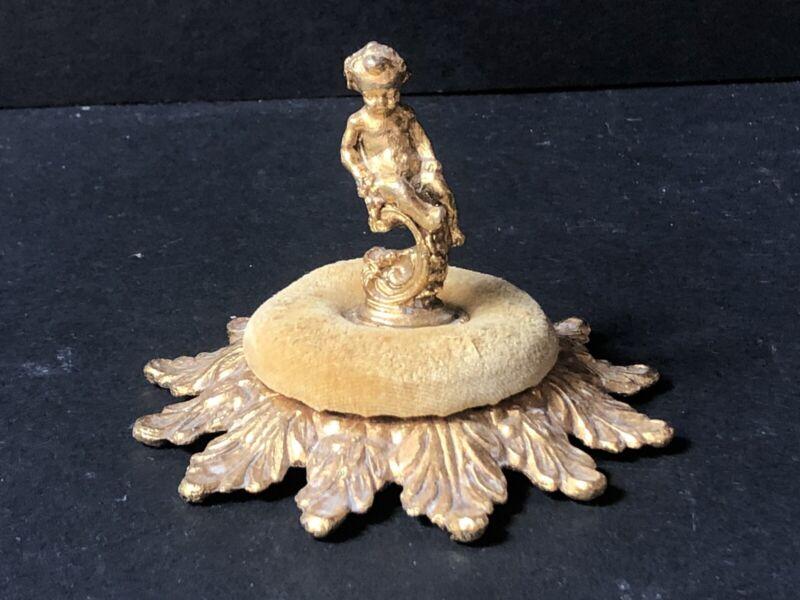 Vintage Gold Gilt Hollywood Regency CHERUB Antique Pin Cushion Earring Display
