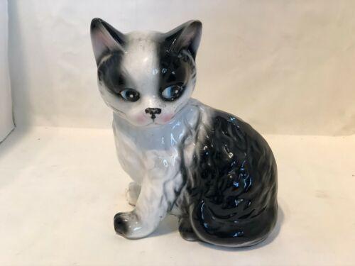Vintage Porcelain Black and White Cat Figurine made in  Japan