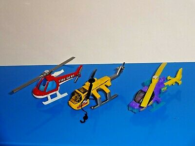 Matchbox Lot of 3 Loose Helicopters Heavy Lift Fire Dept Mission