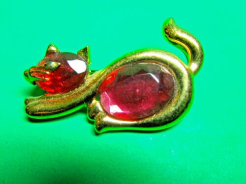 VINTAGE PINK JEWELED KITTY CAT GOLD METAL PIN BROOCH (CM193)