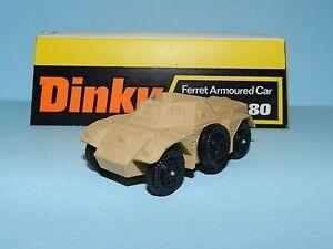 DINKY TOYS 680 FERRET ARMOURED CAR (LIGHT TAN) MINT ON CARD BASE