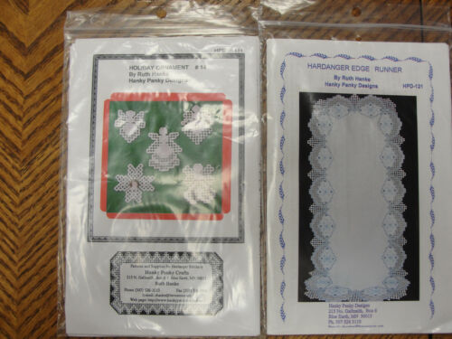 2 Hardanger Patterns Holiday Ornaments #14 & Edge Runner Hanky Panky Designs
