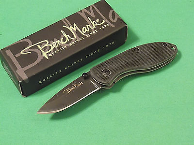 (BenchMark BMK071 Black G10 folding linerlock knife / clip 2 7/8