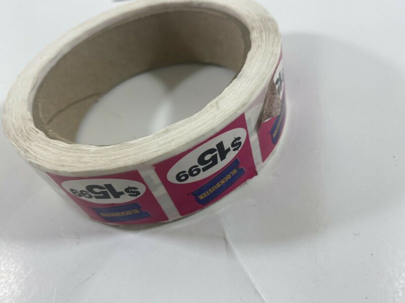 Authentic Vintage Roll Of Blockbuster Pirce Stickers Collectable 90's Nostalgia