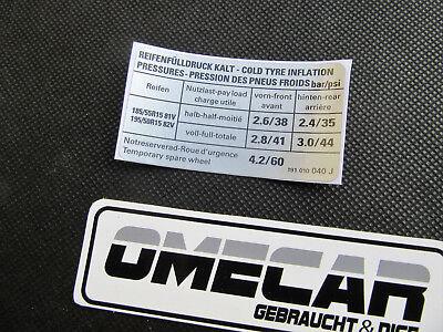 Aufkleber Sticker VW Golf 2 GTI 16V G60 Reifenfülldruck Reifendruck 191010040 J