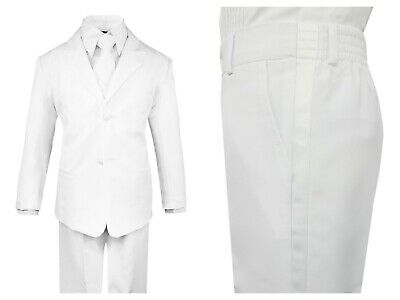 White First Communion Formal Toddler Boys Suit 5 pieces Set with Vest and - Communion Suits Boys