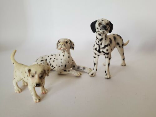 Schleich Adult Female, Male & Puppy Dalmatian Dog Figures Lot of 4