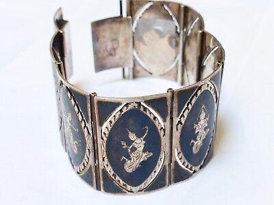 Vintage SIAM Wide Sterling Silver Bracelet