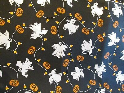 Vtg Halloween cotton fabric ghost pumpkin candy corn garland on black BTHY half