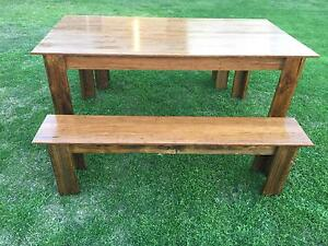 Rustic Indoor/Outdoor Dining Table & Benches Balcatta Stirling Area Preview