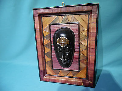 1990s Framed Indonesia souvenir Wall mask 16x12 Bali folk art carving