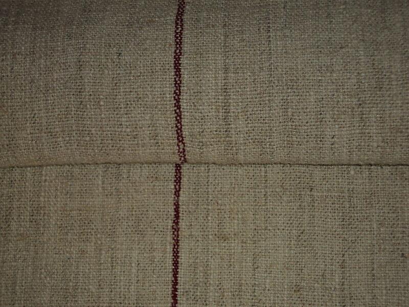 Antique European Feed Sack GRAIN SACK Red Stripes#1951