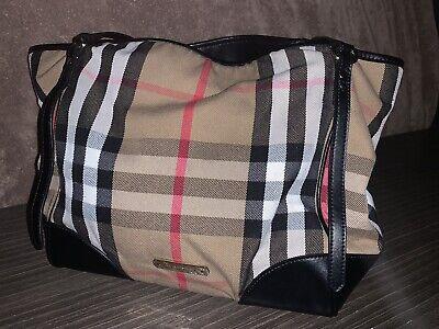 Burberry Bridle House Check Canterbury Tote Handbag w/ Black Leather Trim