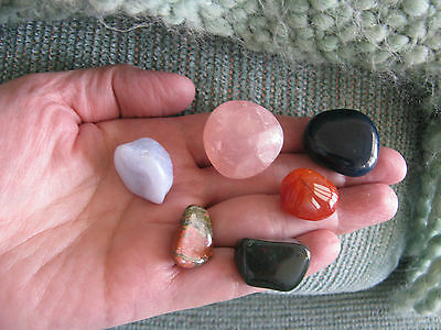 New  Positive Energy  Enjoy Your Life   Crystal Healing Stone Set Of 6 Stones