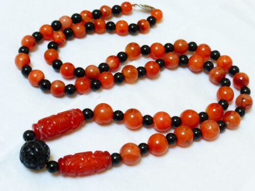 VINTAGE CHINESE CARNELIAN, ONYX, BEAD NECKLACE, STERLING CLASP