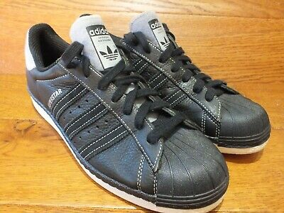 adidas Originals Superstar Black Leather  Trainers UK 9 EU 43 - NEW