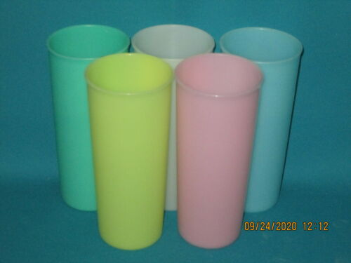 Lot of 5 VINTAGE TUPPERWARE 16 oz Pastel Tumblers Glasses Made in USA