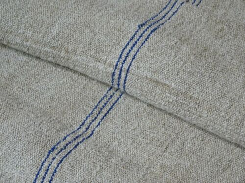Antique European Feed Sack GRAIN SACK Blue Stripe # 8675