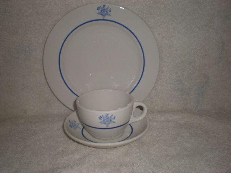 Order of the Eastern Star Mayer China Cup Saucer Dinner Plate O.E.S.