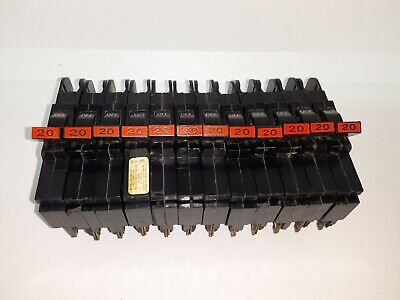 Lot Of 12 Fpe Federal Pacific Nc120 Circuit Breaker 20 Amp 1 Pole 120v Chipped