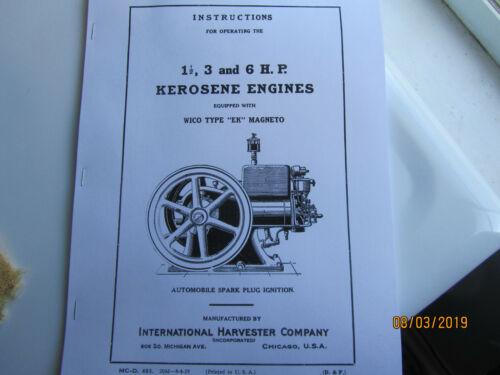 1925 International Harvester 1 1/2 to 6 HP Kero Engine Instruction Manual EK mag