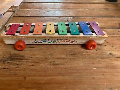 Vintage 1964-78 Fisher-Price Pull-A-Tune #870 Xylophone Pull Toy Wood & Metal