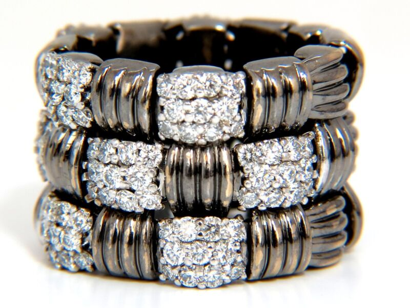 $9500 2.87ct Hinged Flex Grill Weave Cross Hatch Deco Diamonds Ring 18kt Blacken
