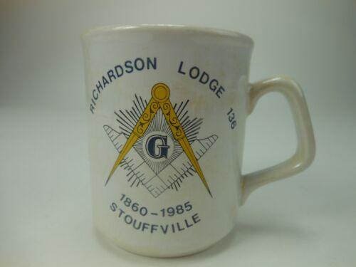 1985 Masonic Cup Richardson Lodge 136 Stouffville NY Masons Coffee Mug