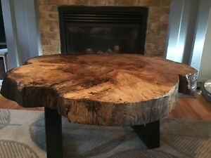 Live edge round coffee tables